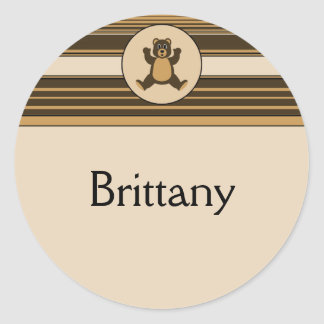 Happy Brown Bear Horizontal Stripes Name Tag Classic Round Sticker