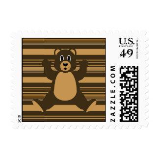 Happy Brown Bear Horizontal Stripes Stamps