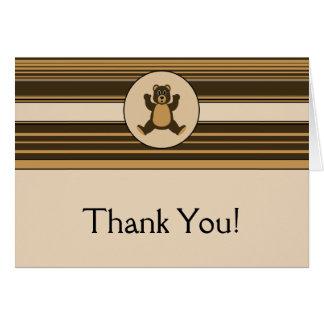 Happy Brown Bear Horizontal Stripes Thank You Card