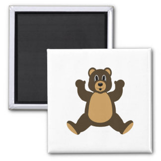 Happy Brown Bear Refrigerator Magnet