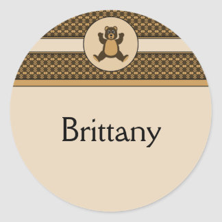 Happy Brown Bear Pattern Name Tag Classic Round Sticker