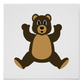 Happy Brown Bear Poster