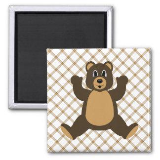 Happy Brown Bear Tan Plaid Magnet