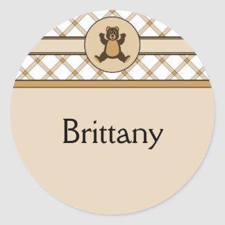 Happy Brown Bear Tan Plaid Name Tag Classic Round Sticker