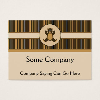 Happy Brown Bear Vertical Stripes Business Card