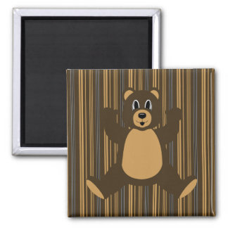 Happy Brown Bear Vertical Stripes Magnet