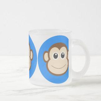 HAPPY BROWN CARTOON MONKEY SMILING FACE ROYAL BLUE COFFEE MUG