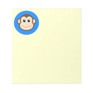 HAPPY BROWN CARTOON MONKEY SMILING FACE ROYAL BLUE NOTE PAD