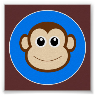 HAPPY BROWN CARTOON MONKEY SMILING FACE ROYAL BLUE POSTER
