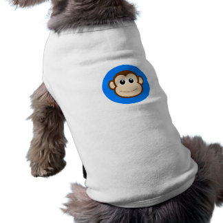 HAPPY BROWN CARTOON MONKEY SMILING FACE ROYAL BLUE SHIRT
