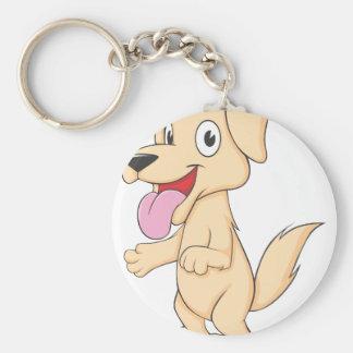 Happy Brown Puppy Dog Basic Round Button Keychain