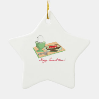 Happy Brunch Time Double-Sided Star Ceramic Christmas Ornament