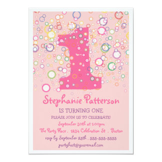 Happy Bubbles! Colorful Number Birthday Party 5x7 Paper Invitation Card