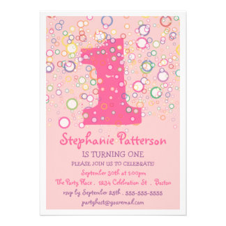 Happy Bubbles Colorful Number Birthday Party Custom Announcement