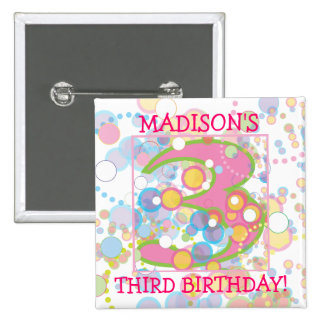 Happy Bubbles Number Three, Three Birthday 2 Inch Square Button