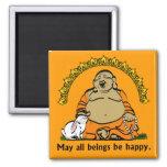 HAPPY BUDDHA 2 INCH SQUARE MAGNET