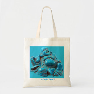 Happy Buddha Turquoise Statue Add Text Tote Bag
