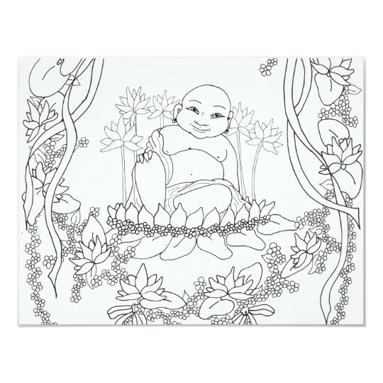 Happy Buddha with Lotus Card