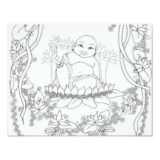 Happy Buddha with Lotus Card