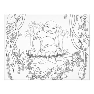 Happy Buddha with Lotus Announcements