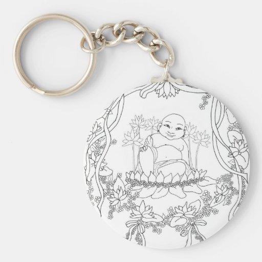 Happy Buddha with Lotus Keychain