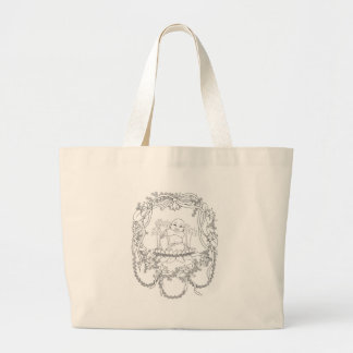 Happy Buddha with Lotus Large Tote Bag