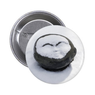 Happy Buddha With Snow Facial 2 Inch Round Button