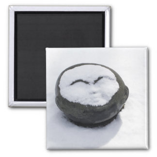 Happy Buddha With Snow Facial 2 Inch Square Magnet