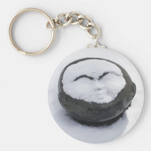 Happy Buddha With Snow Facial Basic Round Button Keychain