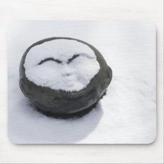 Happy Buddha With Snow Facial Mouse Pad