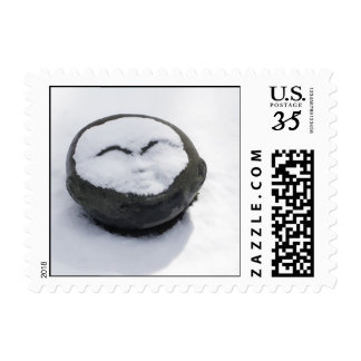 Happy Buddha With Snow Facial Postage Stamps