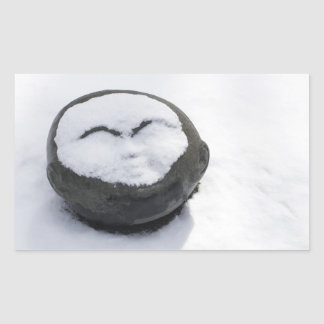 Happy Buddha With Snow Facial Rectangle Stickers