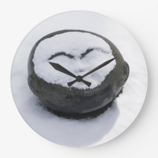 Happy Buddha With Snow Facial Round Clock