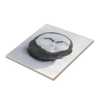 Happy Buddha With Snow Facial Small Square Tile