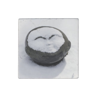 Happy Buddha With Snow Facial Stone Magnet