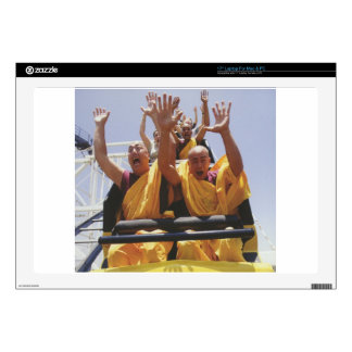 """Happy buddhist monks on a roller coaster 17"""" laptop skins"""