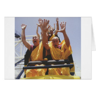 Happy buddhist monks on a roller coaster greeting cards