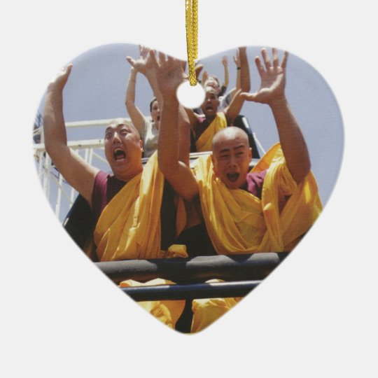 Happy buddhist monks on a roller coaster ceramic ornament