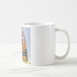 Happy buddhist monks on a roller coaster coffee mug