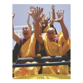 Happy buddhist monks on a roller coaster letterhead