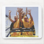 Happy buddhist monks on a roller coaster mouse pads