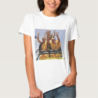 Happy buddhist monks on a roller coaster t shirt
