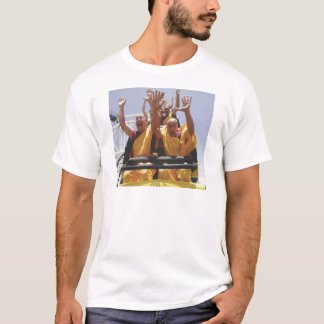 Happy buddhist monks on a roller coaster T-Shirt