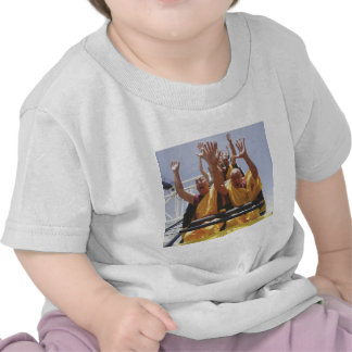 Happy buddhist monks on a roller coaster t shirts