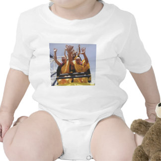 Happy buddhist monks on a roller coaster tee shirt
