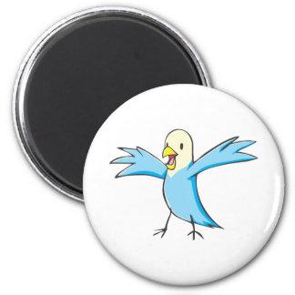Happy Budgerigar Parrot Bird Cartoon 2 Inch Round Magnet