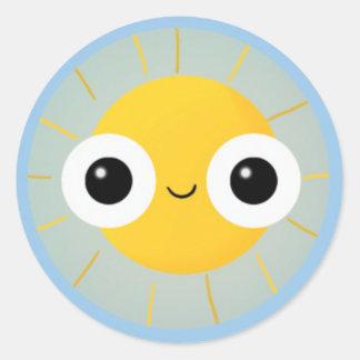 Happy Bug Eyed Sunshine Classic Round Sticker