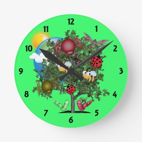Happy Bugs Childrens Learning Wall Clock