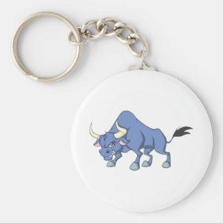 Happy Bull Cartoon Basic Round Button Keychain