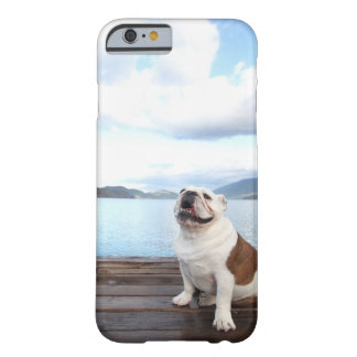 happy bull dog sitting on deck near lake barely there iPhone 6 case